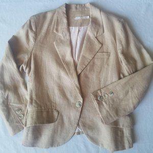 Gibson Beige Cropped Linen Single Button Blazer